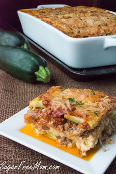 <em> This incredible lasagna is made without grains, it's low in carbs, but you'll never notice or care! </em>   Using layers of baked zucchini between the traditional layers of ricotta cheese and meat and you've got a winning low carb recipe! Even non low carbers will enjoy this fabulous and hearty meal! It's picky hubby approved!   When I first thought about trying a grain free lasagna, I was a bit skept...