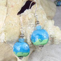 Blue Green Aqua Lampwork bead earrings with silver by beadwizzard, $13.00