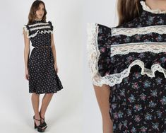Tiny Floral Black Calico Dress / Mockneck High Collar Prairie Dress / Vintage 70s Sheer Lace Folk Prairie Knee Length Womens County Mini Dress Vintage, Vintage 70s, 1970s Dresses, High Collar, Mock Neck, Folk, Floral Prints, Wedding Dresses, Mini