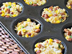 Rice n beans w/corn in muffin cups.  Made 10/24/13 and whole family {except that 1 picky eater} liked them.  Making again!