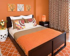Hillside Sanctuary: Tangerine guest bedroom by Kimball Starr Interior Design - contemporary - bedroom - san francisco - Kimball Starr Interior Design