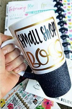 Small Shop Boss Glitter Mug. Cute mugs, funny mugs, glitter mugs, cool mugs, unique mugs, ceramic mugs, coffee mugs, tea mugs, wine, boss lady, boss babe, girl boss, gifts, shopping. #mugs #coffee #shopping #gifts #commissionlink