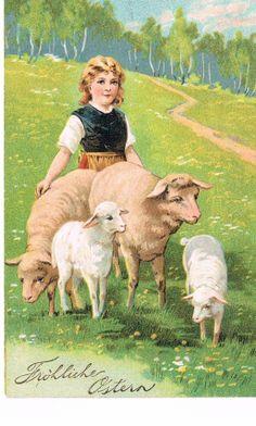 Vintage German easter Postcards | Vintage German Easter postcard | Wife - in captivity