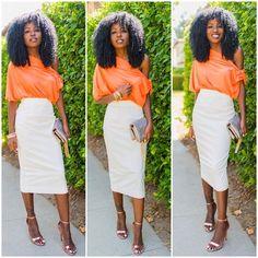 Off shoulder blouse x pencil midi skirt