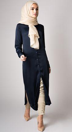 Twill Navy Shirt Dress