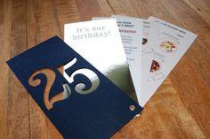 Our 25th birthday party invites - the print and design is oh so dreamy! #print #design #birthday #invite #25thbirthday #clockworkmarketing #celebrations #party #gfsmithpapers #silverfoil #marketing #marketingagency #hospitality #hospitalitymarketing #devon #southwest #powerofprint #printisnotdead