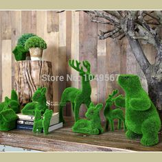 Artificial Turf small cute animals decorations, animal grass land,Reduce the eye fatigue-in Decorative Flowers & Wreaths US $1.00