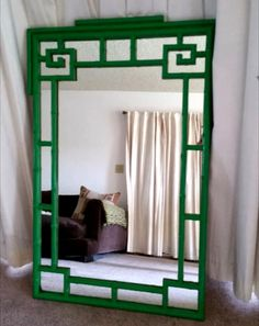 Kelly Green Faux Bamboo mirror