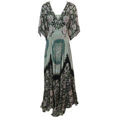 Etro Multi-Color Printed Silk Chiffon Peasant Style Gown 6c5e09280