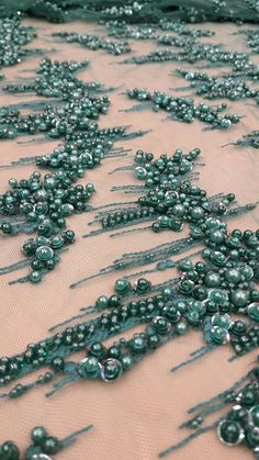 Luxury 3D  green  lace fabric hand made beads  by ImperialLingerie