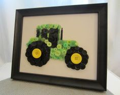 Art DIY - Button Tractor for Boys Transportation Room handmade-holidays Crafts For Boys, Diy And Crafts, Arts And Crafts, July Crafts, Button Art, Button Crafts, Black Button, John Deere Room, Craft Projects