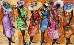 Church Lady Church Hats Poster by Janie McGee African American Art, American Artists, African Art, American Women, Black Artwork, Church Hats, Black Women Art, Love Art, Handmade Art