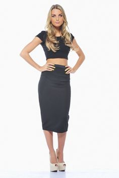 12034945938a6 Loving the new way to wear crop tops - with high waisted pencil skirts. A  plain black pencil skirt is a style staple. From ax paris