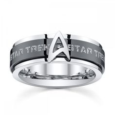 Star Trek Stainless Steel & Black IP Spinner Band