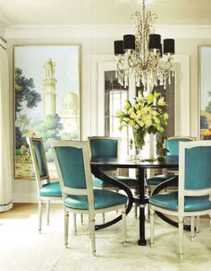 """""""The framed panels are from de Gournay's 'Early Views of India' series.' Interior design by Kelie Grusso, owner of Maison Luxe. Photography and floral styling by Ngoc Minh Ngo. House Beautiful (April 2012)."""