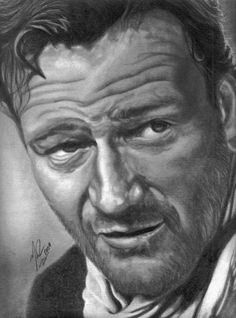 Portrait of John Wayne by Mattyrich Cool Pencil Drawings, Amazing Drawings, Cartoon Drawings, Amazing Art, Art Drawings, Pencil Art, Portrait Au Crayon, Pencil Portrait Drawing, John Wayne