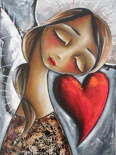 Angel with Heart ❤️ Art Fantaisiste, Creation Art, Arte Obscura, Angel Art, Heart Art, Whimsical Art, Art Plastique, Portrait Art, Illustration