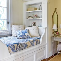 A cozy reading nook is one of the most welcoming parts of this house—perfect for curling up with a great beach read.