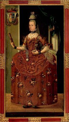 Anónimo, Retrato de doña Juana Leandra Gómez de Parada y Fonseca Enríquez Gallo de Pardiñas y Núñez de Villavicencio de Ovando, óleo sobre tela, 189 x 99 cm., ca. 1770-85, colección particular, catalogación: Juan Carlos Cancino.