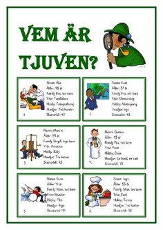 Vem är tjuven.pdf – OneDrive School Games, School S, Primary School, Teacher Education, Kids Education, Detective, Learn Swedish, Free Teaching Resources, Viria