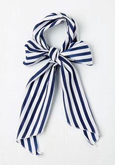 Bow to Stern Scarf in Navy Stripes | Mod Retro Vintage Scarves | ModCloth.com