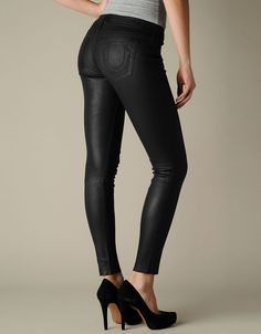 Women's Casey Stretch Leather Pant - Black | True Religion Brand Jeans