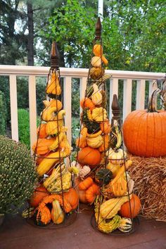 Pumpkin Containers | Positively gourd-geous. Nothing can spruce up a Southern porch in the fall quite like pumpkins. We look forward to unloading the annual haul from the pumpkin patch, knowing well that we'll be picking up a few more here and there.
