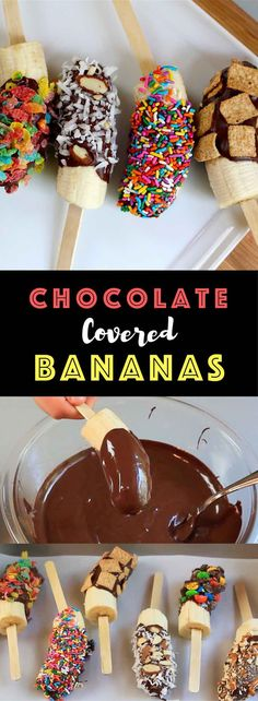 Chocolate Covered Bananas – The easiest snacks ever! Just 2 Ingredients: banana and chocolate; plus whatever toppings you like. We used M&M crushed colored, fruity pebble cereal, cinnamon toast crunch and colored sprinkles, etc. They taste so good and look absolutely amazing! Quick and easy recipe. Kids friendly. Video recipe. | Tipbuzz.com