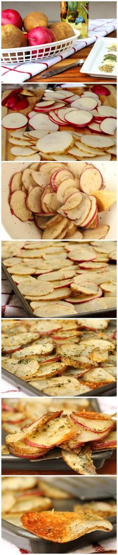 Baked Herb and Parmesan Potato Slices - Sooooooo Yummy! Q wanted them crispier, but Kaiya went back for the last few as a bed time snack. - Keeping this recipe for them, i can make mine separate without cheese I Love Food, Good Food, Yummy Food, Yummy Treats, Potato Recipes, Vegetable Recipes, Potato Slices, Potato Chips, Do It Yourself Food