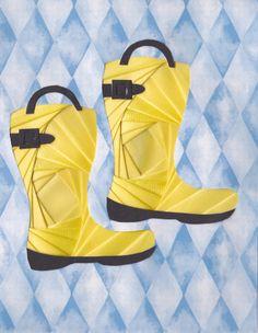 Iris folded rain boots Iris Folding Templates, Iris Paper Folding, Paper Folding Crafts, Iris Folding Pattern, Origami Folding, Little Girl Shoes, Girls Shoes, Fancy Fold Cards, Folded Cards