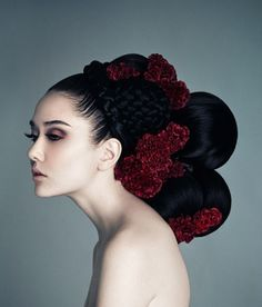 Flowers in hair. Sugar skull hair adornment idea. Artistic hairstyles