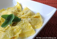 For the Love of Cooking » Butternut Squash Ravioli with a Butter Sage Sauce and Parmesan Cheese