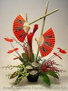 chinese paper lantern centerpieces | ... Chinese fans make up this interesting Chinese New Year arrangement