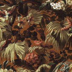<p>Bring the foliage of the ancient Silk Route to your interior with 'Limerence' Tobacco wallpaper featuring a clay shade with coral and s...