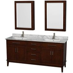 Wyndham Collection Hatton 72 inch Double Bathroom Vanity in Dark Chestnut, White Carrera Marble Countertop, Undermount Square Sinks, and Medicine Cabinets