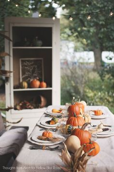 Thoughts from Alice: Outdoor Thanksgiving Table Ideas {Fall Back Patio Tour} Outdoor Thanksgiving, Thanksgiving Table Settings, Thanksgiving Tablescapes, Thanksgiving Decorations, Table Decorations, Thanksgiving Ideas, Holiday Ideas, Autumn Decorations, Vintage Thanksgiving