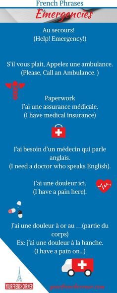 french phrases for travelers emergency 61 phrases for French Travellers Repin…