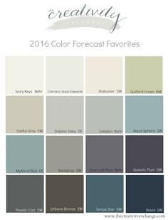 Favorite colors from the paint companies' 2016 color forecasts and trend reports. The Creativity Exchange