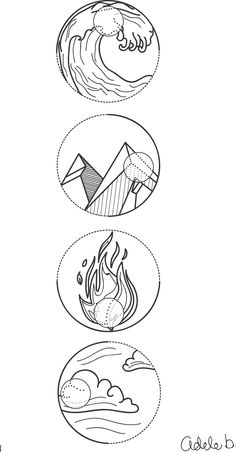4 Element symbols Water, earth, fire and air. Tattoo idea no 1. drawn on Illustrator