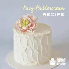 Delicious, rich and easy buttercream recipe that anyone can make. This is not a crusting buttercream. It is meringue based so it has a slight shine and chills nicely in the fridge. Takes 10 minutes to make and is fool-proof!