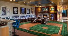 Man cave with large baseball rug