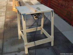Build a fold away table saw from circular saw. Portable Circular Saw Table Home Made Table Saw, Diy Table Saw, Make A Table, Essential Woodworking Tools, Woodworking Bench, Woodworking Projects, Woodworking Shop, Circular Saw Table, Best Circular Saw