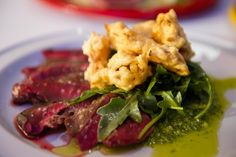 Grilled Hearts of Venison with Arugula, Gribiche & Shallot Rings
