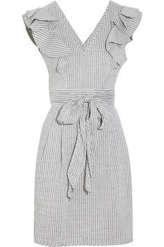 Ruffled linen-blend seersucker dress
