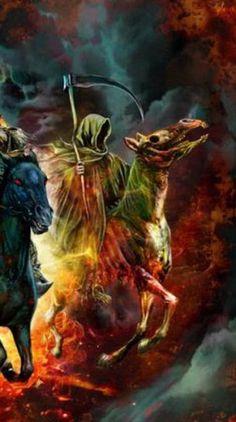 "detail from ""Four Horsemen,"" by Mark Wilkinson at deviantART. Horsemen Of The Apocalypse, Pale Horse, Black Death, Album Covers, Creepy, Beast, Deviantart, Painting, Detail"