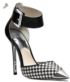 7f09e1c360b3 Michael Kors Zady Ankle Strap Houndstooth Pump in Black White