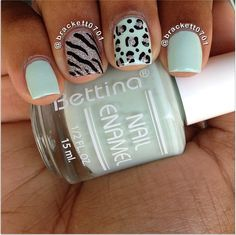 Mint Animal Print Accent Nails these are for #taliaslegacy #mintmanisfortaliajoy Colors used: Bettina Orchidea and China Glaze Glistening Snow.