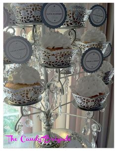 White & Silver Wedding Candy Table by The Candy Brigade  #candybuffet #dessertbuffet  #elegantwedding #blingwedding