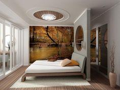 Fototapeta z pięknym, jesiennym pejzażem. Las, drzewa i kojący widok na jezioro. Idealny wzór do uspokajająco przytulnej sypialni.