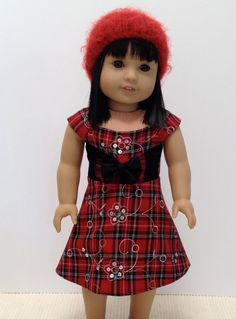 'Tis a Scottish Christmas, Embellished Red Plaid Dress and Knit Hat, by LollyDollyDesigns via Etsy, $25.00
